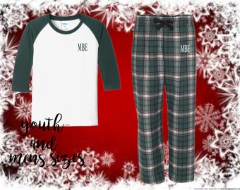 christmas pajamas, monogrammed christmas pajamas, mens pajamas, youth pajamas, boys pajamas, monogrammed pjs, personalized pajamas