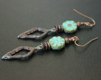 Bohemian Earrings - Rustic Pewter Leaves - Turquoise Czech Flowers - Artisan Charms - Handmade Earrings - Lightweight - Primitive - Gypsy