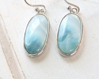 Elongated Oval  Larimar Earrings with  925 Sterling Silver  - Dominican Larimar - Calming Stone