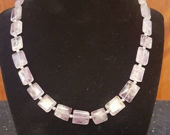 Handmade Genuine Amethyst Tablet Bead Necklace with Lobster Claw Closure