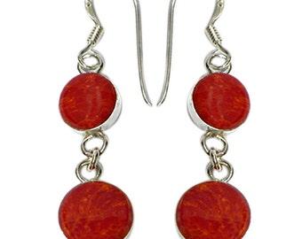 Coral earrings long circles 925 Sterling Silver earrings set ladies jewelry (No. OK-40)