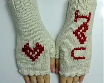 Hand Knitted Fingerless, Wool Mittens, Woman Gloves, For Her,Fingerless gloves, love you gloves,valentines day