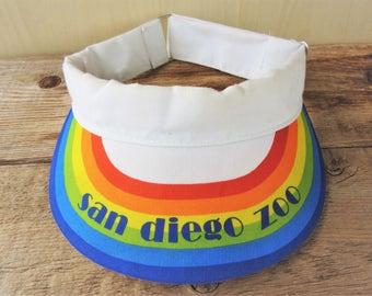 Vintage 80s SAN DIEGO ZOO Original Sun Visor Rainbow Strapback Hat Souvenir Attraction Promo Cap Vacation Wear