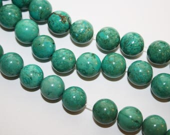 Turquoise Round Beads,  - 12mm - 30ct -  #D179