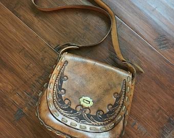 Tooled Leather Handbag Purse