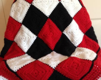 Granny Square Baby Afghan - Red/Black/White