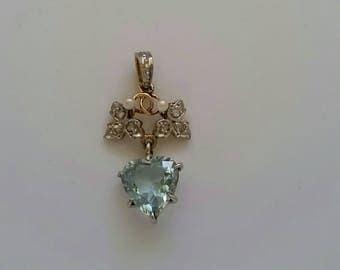 Antique aquamarine diamond and pearl pendant with grapevines