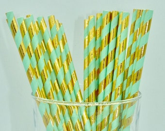 Pack of 25 mint green and metallic gold paper straws - candy bar - birthday party - baby shower - wedding