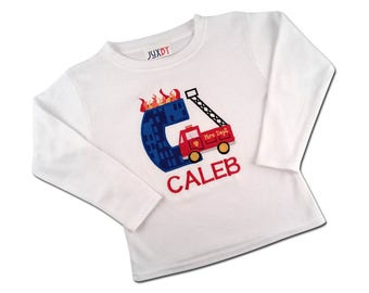 Boys Firetruck Birthday Shirt with Embroidered Name