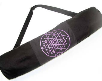 Embroidered Yantra Yoga Mat Bag - PURPLE, SKU:17120-01