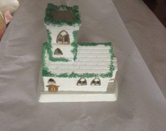 Church Lite Hand Painted Porcelain Decorative Church Candle Ensemble