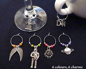 Doctor Who wine glass / cup charms (set of 6).