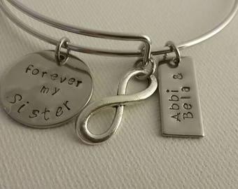Sisters Bracelet, Always a friend, Forever my Sister Bangle Bracelet