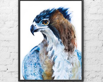 Watercolor painting eagle print, wild animal art, wild bird art, american eagle, eagle poster, eagle painting, bird print  - R30