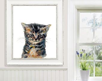 Watercolor painting cat art print, kitten print cat nursery animal baby cat print - R40