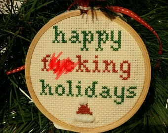 MATURE Funny Cross Stitch Christmas Ornament!  Make your xmas tree slightly inappropriate for the whole family!  A great gift!