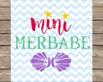 Mini Merbabe svg Mermaid svg Ariel svg Disney svg Little Mermaid svg Beach svg cutting file silhouette cricut cut file dxf svg design