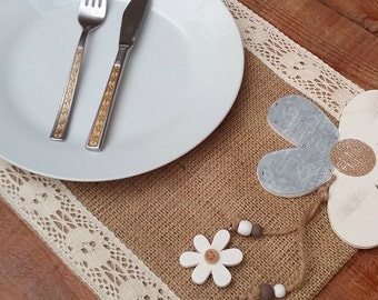Burlap Placemat with Lace -  Burlap Tablemats - Plate Charger - Table Settings - Wedding Placemats - Rustic Table Decor - Set of 6