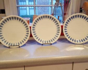 """3 9"""" (23 cm) Lyngby  Lotus Blue Cathrineholm Plates"""