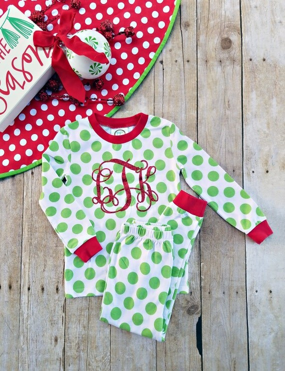 Monogrammed Christmas Pajamas Youth Christmas pjs Kids