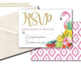 Tropical Flamingo RSVP card / Tutti Fruity / Fruit rsvp / Tutti Frutti / printed or printable / Pink / Gold / Pineapple / ARUBA COLLECTION