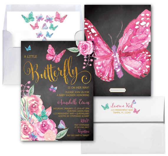 Butterfly Baby Shower Invites: Butterfly Baby Shower Invitations // Butterflies Invitation