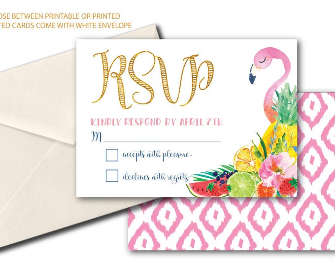 Tropical Flamingo RSVP card / Tutti Fruity / Fruit rsvp / Tutti Frutti / printed or printable / Pink / Gold / Pineapple / ARUBA COLLECTION