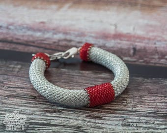 Red Silver Scarlet Laconic Ascetic Two-color Japanese Style Beaded Bracelet