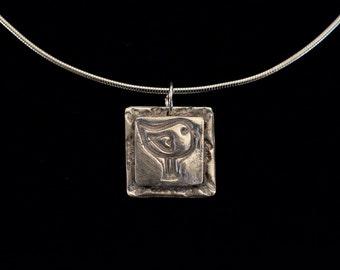Fine Silver Pendant of an Adorable Bird | Precious Metal Clay