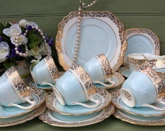 Beautiful Vintage baby Blue Tea set for 6
