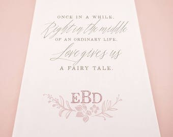 Modern Fairy Tale Personalized Monogram Wedding Ceremony Aisle Runner - 1082-47