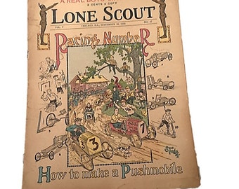 Lone Scout    Racing Number    The Real Boys Magazine    How to Make a Pushmobile    September 16 1916    Perry Emerson Thompson