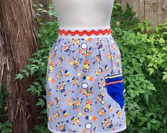 Apron ~ Clowning Around ~ Vintage Pillow Case Turned into Up-cycled / Re-purposed Half Apron ~ Great Colors ~ Circus Clowns Balloons Hoops