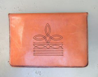Vintage 1970s Mens Cowboy Leather Wallet Oversized Bifold Western Detail Stitching Cowboy Boot 70s