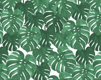 Breathable crib bumper. Green monstera plant exotic. Stretch fabric wrap around seamless crib bumper. Gender neutral