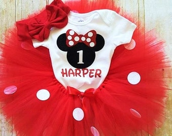 1st Birthday Minnie Tutu outfit/option to buy with or without bow/Babies first Birthday Mickey outfit/Smashcake outfit/custom outfit