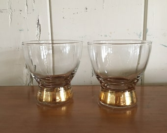 Pair of Vintage Gold footed glasses