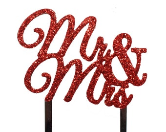 Mr and Mrs Cake Topper RED GLITTER