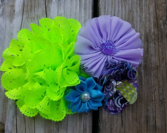 Hair Accessory, Girls Accessory, Girls Hairclip, Photo Prop, Spring Flower, Flower Girl,Lime/Purple Flowers, Girls Headband, Flower Hairclip