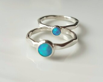 Sterling silver stacking ring with a bright blue opal in either 4mm or 6mm made to order using 2mm diameter wire, made in Wales