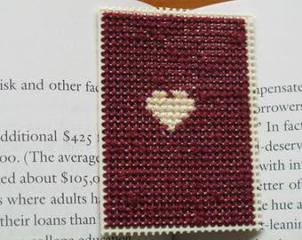 Cross stitch bookmark needlepoint needlecraft heart washed clean white heart purple embroidery literature book