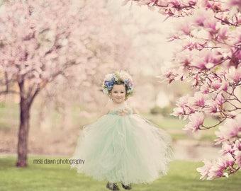 Flower girl dress, mint flower girl tutu dress, mint and blush flower girl dress, mint and blush tutu dress, blush flower girl tutu dress