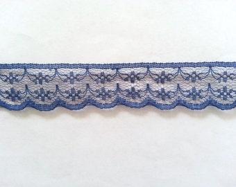 """10 Yards of Deep Blue Lace Ribbon/ Lace Trim 0.87"""" (2.2 cm)"""