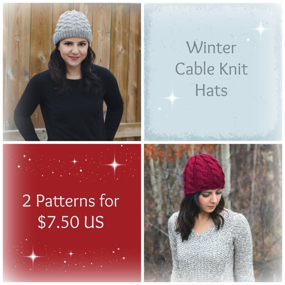 Knitting Pattern - Winter Hat Knitting Pattern Set