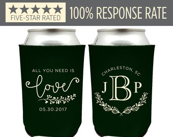 Personalized Wedding Can Cooler, Rustic Monogrammed Wedding Coolers, Southern Wedding Favor, Rustic Wedding Favor, All You Need is Love (8)