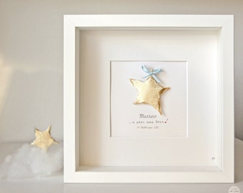 Personalized Gift Baby Boy Girl - Birth, baptism gift - custom Art frame ... a star was born! - 3D paper - gold leaf - frame with glass