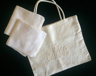 Monogrammed Vintage Bridal Pouch with Handkerchiefs