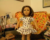 "Doll (18"") dress drop-waisted with purple flowers"