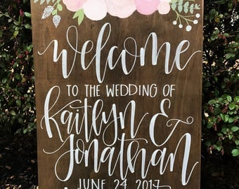 Wedding Welcome Sign | Wedding Entrance Sign | Personalized Wood Wedding Sign | Welcome To Our Wedding Sign | Rustic Wedding Decor