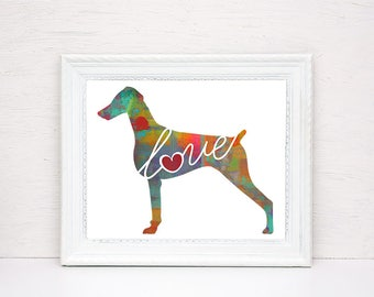 Doberman Pinscher Love (Natural / Undocked Ears) - A Colorful, Bright & Whimsical Watercolor Home Decor Gift, Can Be Personalized with Name